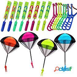 16 pezzi di fionda elicottero con 4 pacchi giocattolo paracadute bomboniere per bambini giocattoli all'aperto giocattoli volanti aeroplani soldati paracadute lancio giocattolo miniinthebox