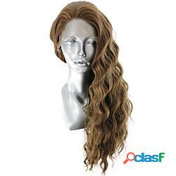 Parrucca anteriore in pizzo sintetico ondulato ondulato naturale parte libera parte anteriore in pizzo parrucca lungo lino capelli sintetici 8-12 pollice per donna soffice elastico da donna m