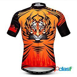 21grams 3d animali tiger per uomo manica corta maglia da ciclismo - nero / arancio bicicletta maglietta / maglia top traspirante traspirazione umidità asciugatura rapida gli sport poliestere