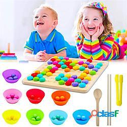 Gioco da tavolo con perline in legno gioco da tavolo con perline arcobaleno puzzle per l'educazione precoce gioco da tavolo per bambini miniinthebox