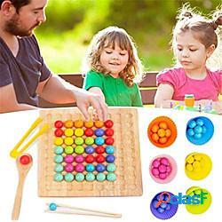 Gioco da tavolo di perline di legno gioco da tavolo giocattolo educativo montessori - gioco di perline con clip da tavolo puzzle - giocattolo arcobaleno di perline di legno - gioco di abbinam