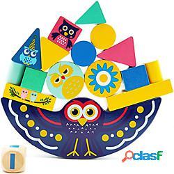 Gioco di impilamento in legno per i più piccoli blocchi di equilibrio giocattolo educativo precoce giocattolo contessori per abilità motorie fini e smistamento di forme giocattolo genitore pe