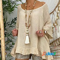 Per donna collana lunga nappa simbolo della pace europeo stile folk boho cristallo legno tessuto bianco 100 cm collana gioielli 1 pc per da sera strada graduazione compleanno festival miniint