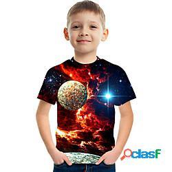 Bambino Da ragazzo maglietta T-shirt Manica corta Arcobaleno Monocolore 3D Con stampe Bambini Top Essenziale Moda città Arcobaleno miniinthebox