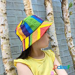 1 pz Bambino Unisex Essenziale Compleanno / Casuale / Da mare Arcobaleno / Fantasia geometrica Alla moda Cotone Cappelli e berretti Arcobaleno S miniinthebox