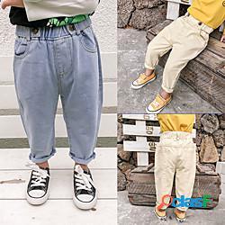 Bambino Bambino (1-4 anni) Da ragazzo Jeans Tinta unita Attivo Essenziale Blu Beige miniinthebox