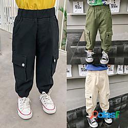 Bambino Bambino (1-4 anni) Da ragazzo Pantaloni Tinta unita Essenziale Moda città Nero Verde militare Beige miniinthebox