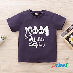 Bambino Da ragazzo T-shirt Manica corta Alfabetico Con stampe Bambini Estate Top Attivo Standard Grigio scuro 2-8 anni miniinthebox