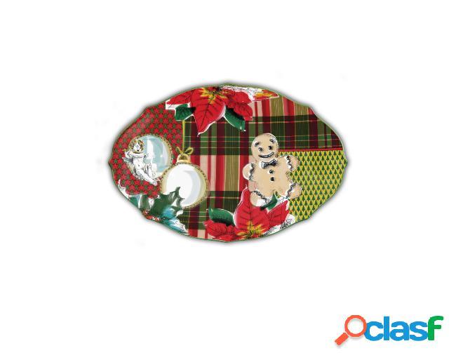 Piatto portata porcellana ovale piccolo - tartan by baci milano