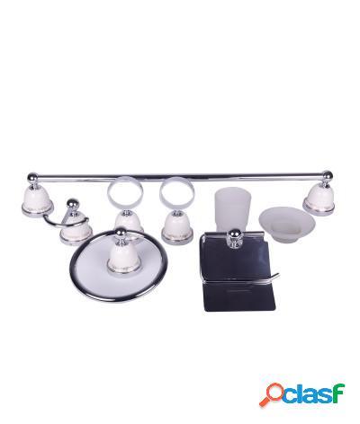 Kit accessori bagno 6 pezzi a campana bianco con decori oro
