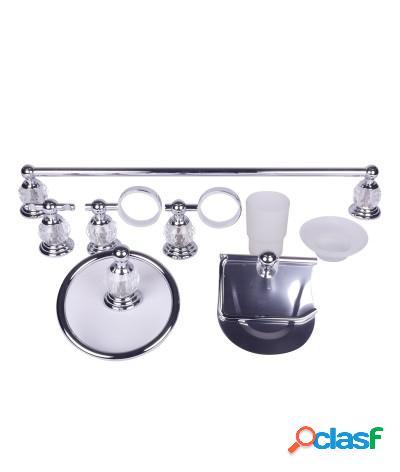 Kit accessori bagno 6 pezzi crystal cromo