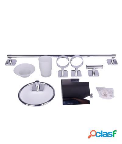 Kit accessori bagno 6 pezzi design quadrato