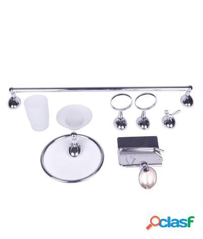 Kit accessori bagno 6 pezzi goccia cromato