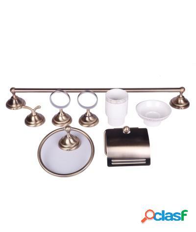 Kit accessori bagno 6 pezzi ottone satinato e ceramica bianca con ricami oro
