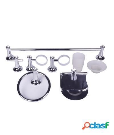 Kit accessori bagno 6 pezzi pomelli con punto luce in vetro intagliato
