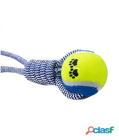 Giocattolo tira e molla per cani con pallina da tennis arancio