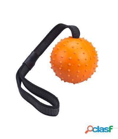 Giocattolo tira e molla per cani con palla in gomma resistente 7 cm