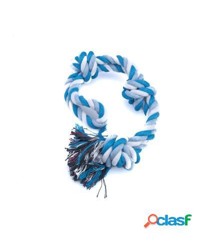 Giocattolo tira e molla per cani in corda annodata azzurro