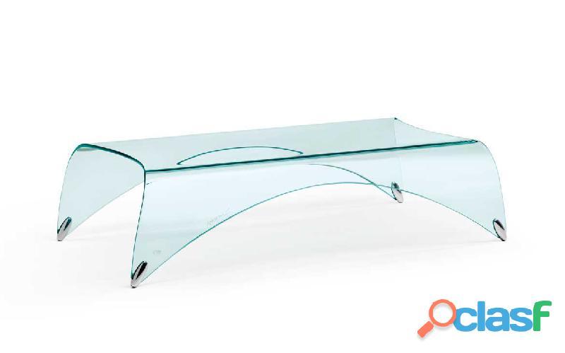 Genio fiamitalia, il tavolo basso in vetro curvato
