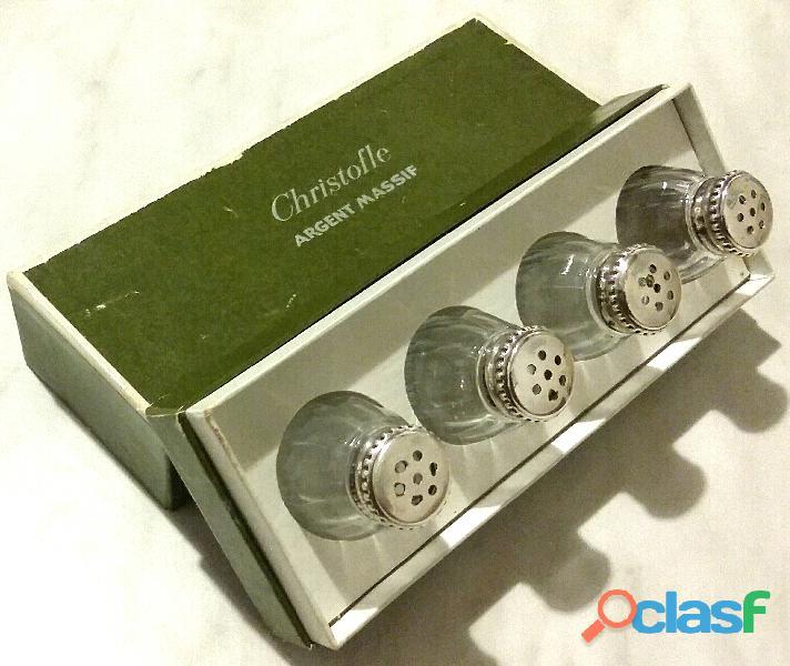 """Set di Salini in vetro""""CHRISTOFLE Argent Massif"""" in argento sterling 925% con scatola"""