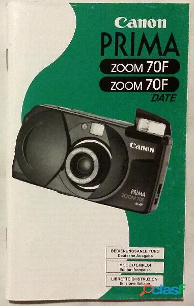 Libretto di istruzioni per la macchina fotografica Canon Prima Zoom 70F Date