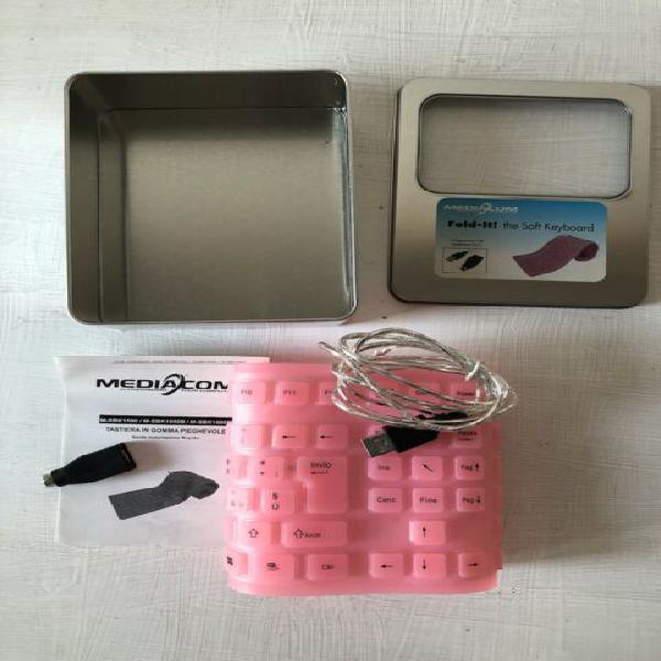 Tastiera soft rosa arrotolabile in gomma