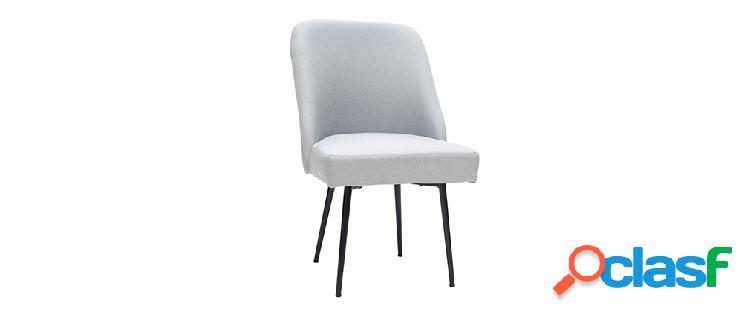 Sedia design in tessuto grigio chiaro e piedi in metallo nero lov