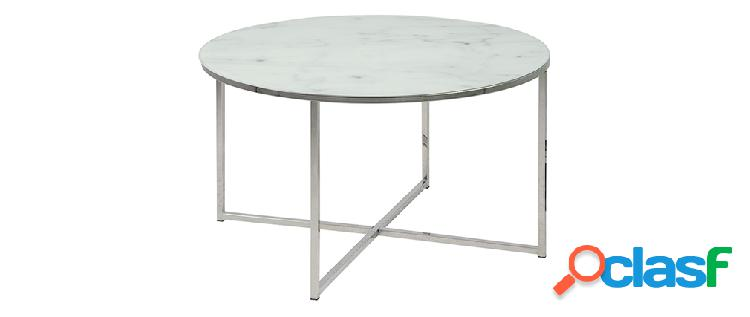 Tavolino basso rotondo effetto marmo bianco e piedi in metallo 80 cm alcino