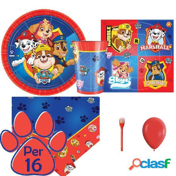 Kit 6 - 205 pz. coordinato tavola paw patrol + forchette e palloncini rossi