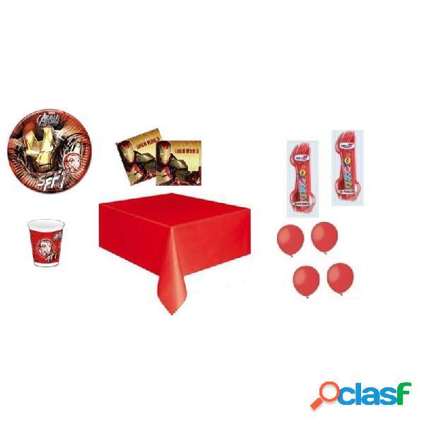 Kit 6 - 205 pz. coordinato tavola iron man + forchette e palloncini rossi