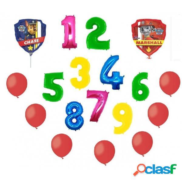 2 palloni foil paw patrol + 1 numero mylar colorato + 100 palloncini rossi a50