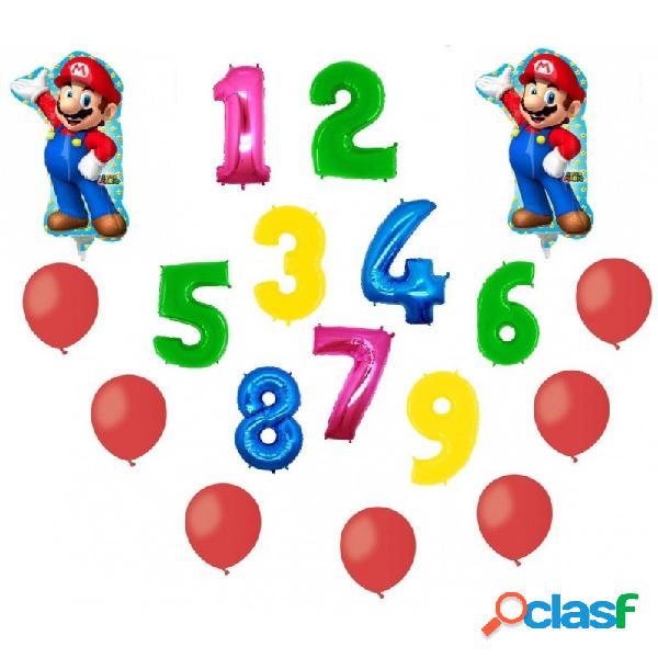 2 palloni foil super mario + 1 numero mylar colorato + 100 palloncini rossi a50