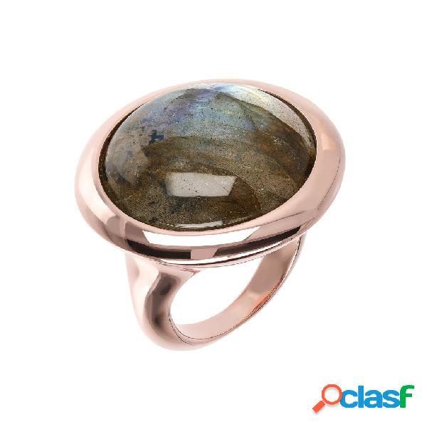 Anello con pietra verde cabochon | rose gold / 14 / labradorite