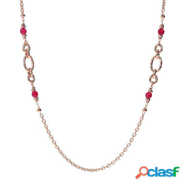 Collana catena sottile con pietre naturali   rose gold / 96.50cm / agata rossa