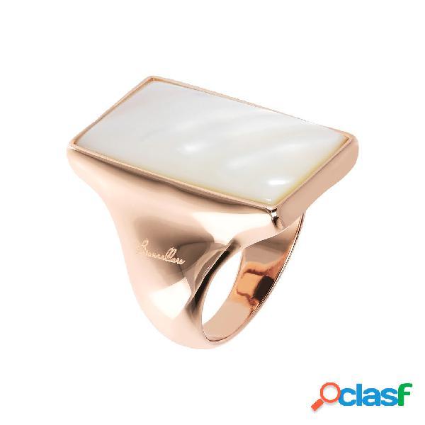 Anello con pietra dura design rettangolare | rose gold / 14-18 / madreperla