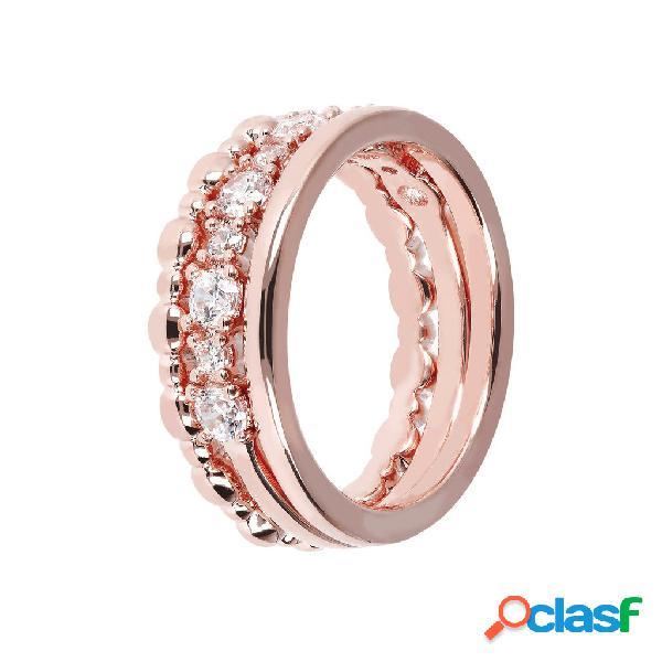 Set anelli fedine   rose gold / 14 / cubic zirconia