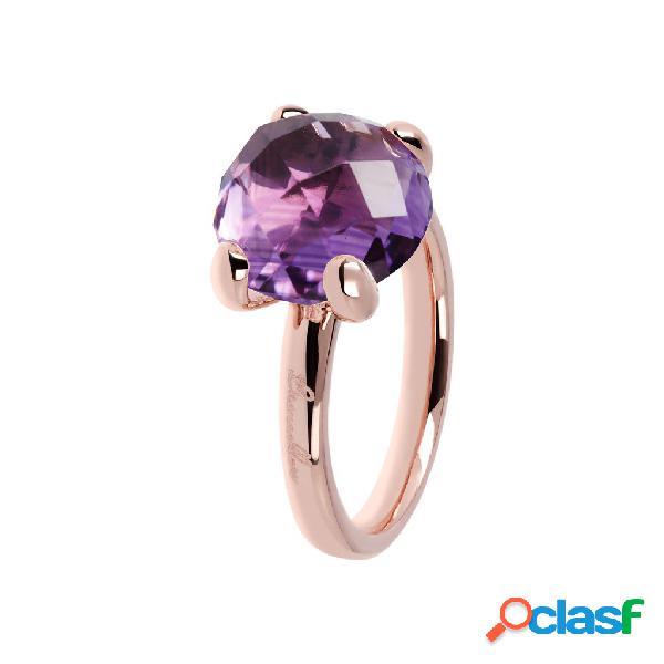 Anello con pietra viola ametista | rose gold / 16 / ametista