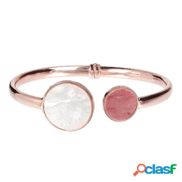 Bracciale rigido bicolore | rose gold / avg / white mop + red fossil wood