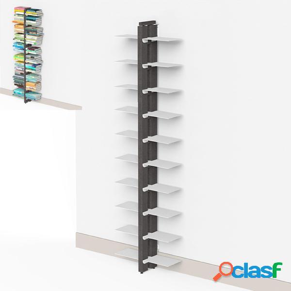 Libreria verticale doppia fissaggio a parete zia bice 17x42xh 155 cm con struttura e bacchette in legno massello di faggio evaporato colore nero. mensole in acciaio smaltato