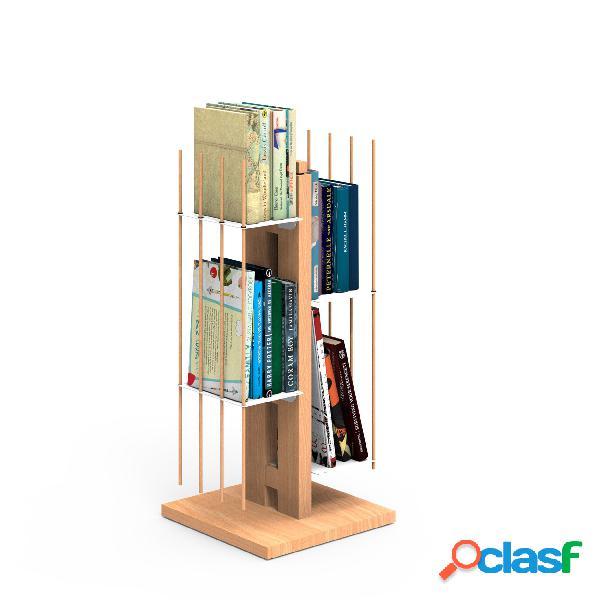 Libreria verticale a colonna zia veronica 30x30xh 65 cm con struttura e bacchette in legno massello di faggio evaporato colore naturale. mensole in acciaio smaltato