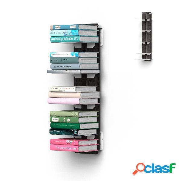 Libreria verticale fissaggio a parete sospesa zia ortenzia 20x32xh 65 cm con struttura in legno massello di faggio evaporato colore nero. mensole in acciaio smaltato