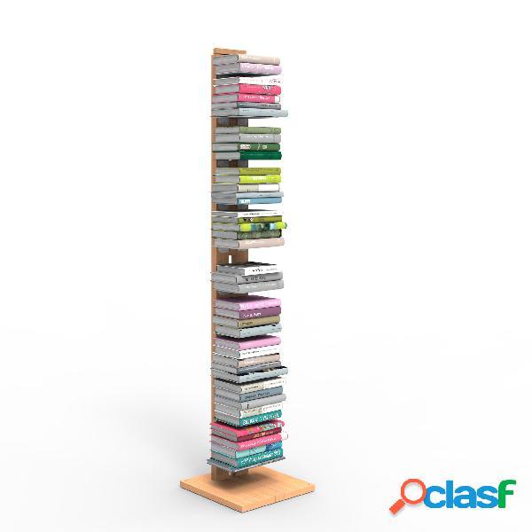Libreria verticale a colonna zia ortensia 34x34xh 150 cm con struttura i in legno massello di faggio evaporato colore naturale mensole in acciaio smaltato