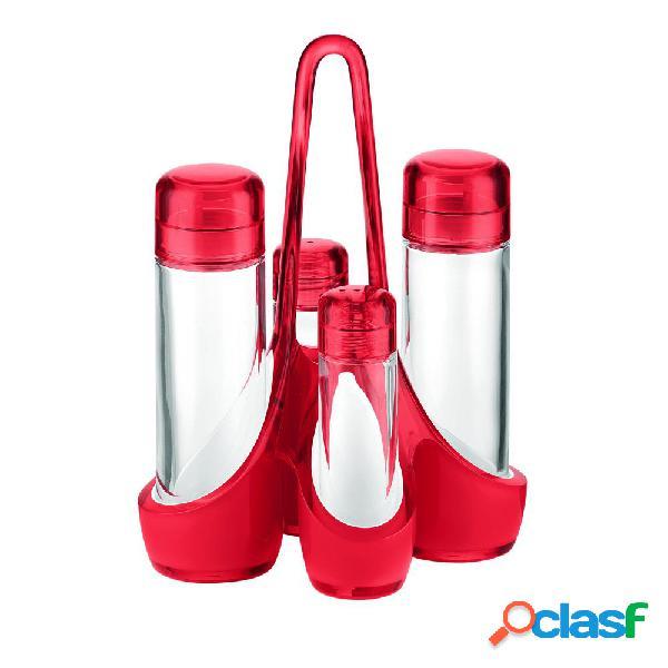 Menage bicolore 18.5x14xh24 cm 160 cc- 50 cc bottiglie in vetro rosso