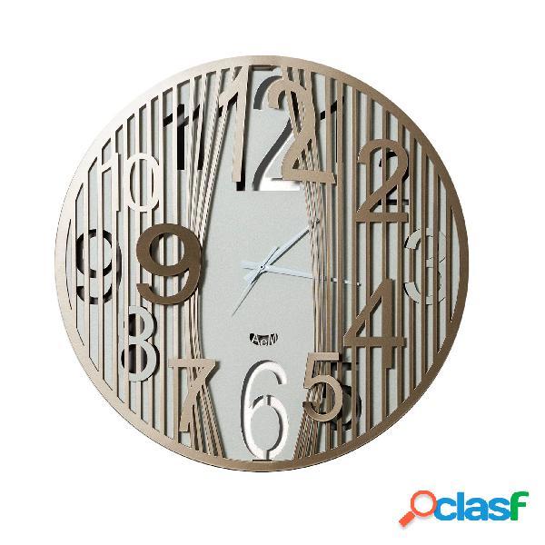 Orologio da parete dal design moderno evasion in metallo, diam.50, colore avorio bronzo