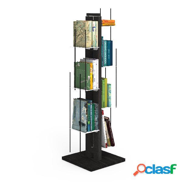 Libreria verticale a colonna zia veronica con struttura 34x34xh 105 cm e bacchette in legno massello di faggio evaporato colore nero. mensole in acciaio smaltato