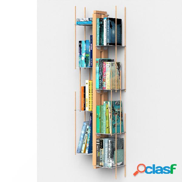 Libreria verticale fissaggio a parete sospesa zia veronica 20x32xh 105 cm con struttura e bacchette in legno massello di faggio evaporato colore naturale. mensole in acciaio smaltato