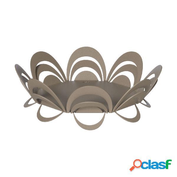 Centro tavola moderno piccolo origami in metallo, d.27x11h, colore beige