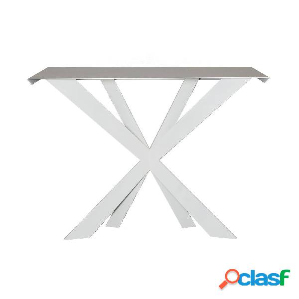 Consolle in stile moderno exsodus zeus in metallo, 110x35px78h, colore bianco neve