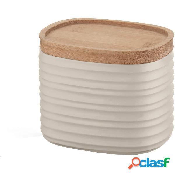 Barattolo realizzati riciclando 4,9 bottiglie di plastica 12.3x9.4x h11 cm - 500cc con coperchio in legno di bamboo salva freschezza e guarnizione sul tappo, argilla