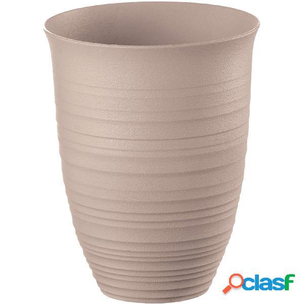 Bicchiere alto tierra, ottenuto riciclando 4,5 bottiglie di plastica ø 9,8xh12,4 cm - 520cc post consumed recycled poliestereastic, grigio tortora